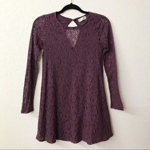 Altar'd State Purple Lace Long Sleeve Dress